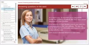 screenshot of nurse in elearning module